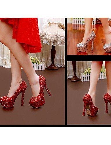 ShangYi Schuh Damen - Hochzeitsschuhe - Absätze - High Heels - Hochzeit / Party & Festivität - Rot / Weiß , 5in & over-white
