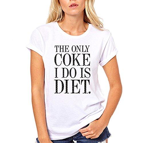 GullPrint Women's The Only Coke I Do Is Diet Funny Tee Shirt Medium - Leaf Marjuana