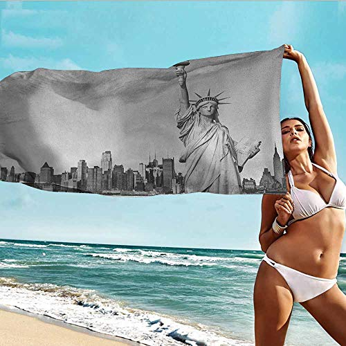Beach Towel Microfiber Sand Free Pool Towels Black and White,Statue of Liberty of New York City Famous American Monument,Pale Grey Black White,suitable For Home,Travel,Swimming Use 20