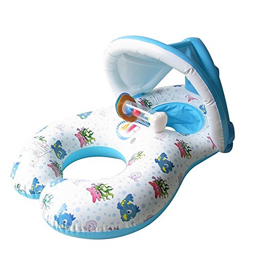 Frealm Mother and Baby Swim Float Rings Kid's Swimming Pool Inflatable Swim Boat with Sunshade Protection