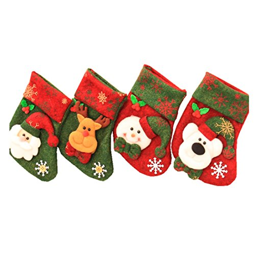 Pack of 4 Soft Christmas Stockings,Zerowin Christmas Gift Bags Hanging Ornaments Assorted Patterns 3D Gift Socks Hanging for Xmas Tree Decoration Xmas Candy Gift Bag Socks 5.54 inch (Red Velvet Christmas Stocking)