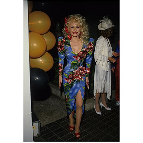 Dolly Parton (8 inch by 10 inch) PHOTOGRAPH Recording Artist 9 to 5 Steel Magnolias The Best Little Whorehouse in Texas Full Body in Blue Floral Dress kn