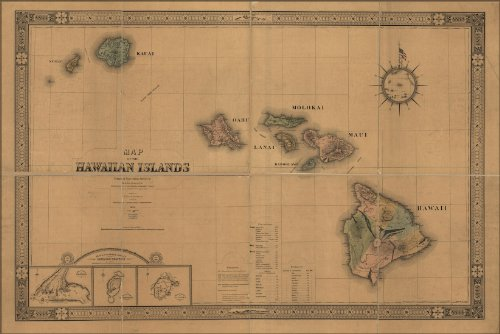 24x36 Poster; Map Of The Hawaiian Islands Hawaii 1876; Antique (Antique Four Poster)