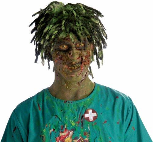 Bio Zombie Costumes Wig (Biohazard Zombie Contaminated Adult Wig (Neon Green/Black) Size One-Size)
