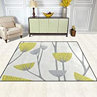 DEYYA Dandelion Grey White Yellow Contemporary Area Rug Carpet for Living Room Bedroom 7 x 5