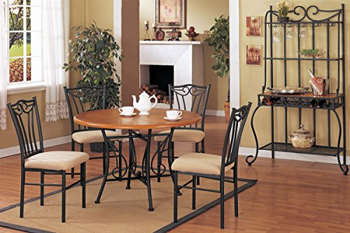 Poundex F2043 & F1010 Brown Wood Table Top W/ Beige Fabric Chairs Dining Set
