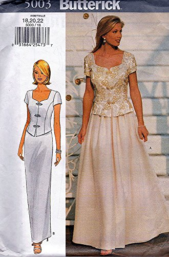 Butterick Sewing Pattern 5003 ©2001 Misses/Misses Petite Formal Top and Skirt, Size 18-20-22