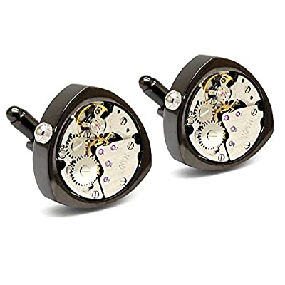 Honey Bear Cufflinks for Mens - Working Watch Movement Wedding Business Gift with Box (Black-working)