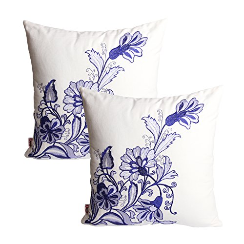 Queenie - 2 Pcs Traditional Chinese Blue & White Porcelain Series 100% Cotton Embroidered Decorative Pillowcase Cushion Cover Throw Pillow Case 18 X 18 Inch 45 X 45 Cm (2, Blue Flowers)