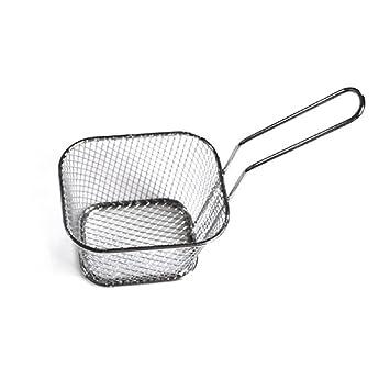 chige Mini cesta de la freidora cuadrada Chip de acero inoxidable presente frito alimentos (4.1 x 3.3 x 2,5 en): Amazon.es: Hogar