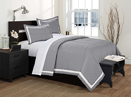 Cheapest Price! 3 Piece Carola Lace Edge Embroidered Bedspread Set Box Stitching (Queen, Gray)