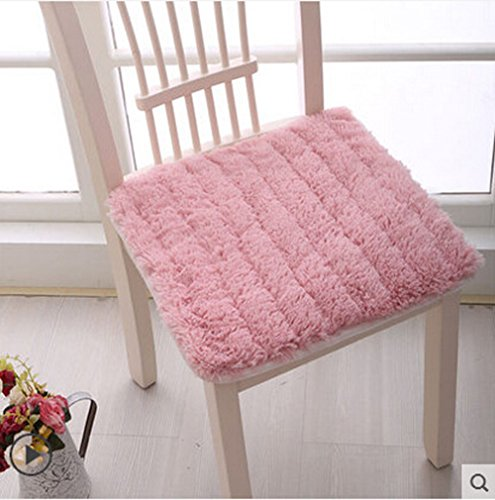 (Soft Thicken Plush Chair Pads with Ties Winter Indoor Warmth Square Chair Cushion Nonslip Comfort Dining Seat Pads Stool Cushion Mat Cover Decoration for Home Patio Kitchen Office Dorm, 17.8