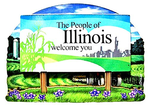Illinois State Welcome Sign Wood Fridge Magnet 2 (Wood Magnet Refrigerator)