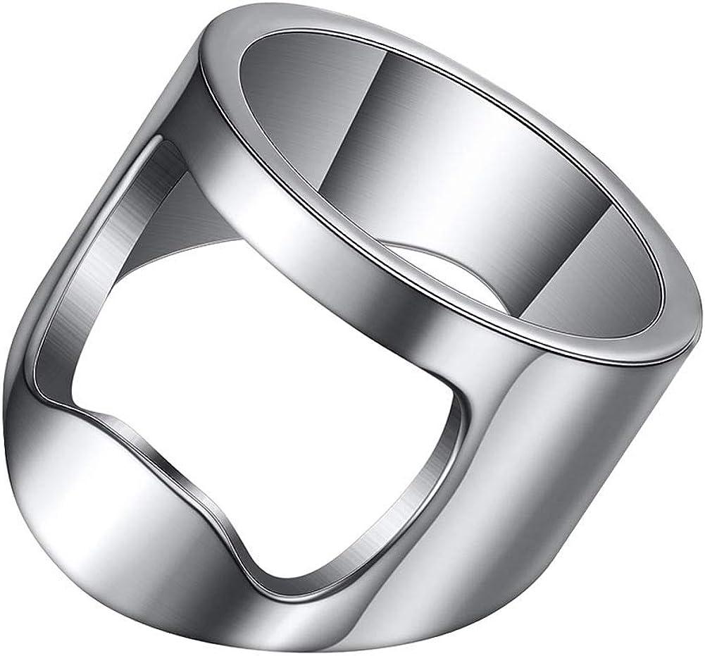INRENG Stainless Steel Biker Finger Bottle Opener Ring Men Women Creative Beer Bar Tool Jewelry