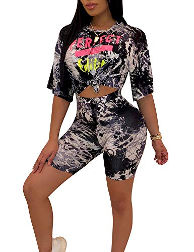 Sexy 2 Piece Outfits Bodycon Clubwear Half Sleeve Crop Tops Shorts Pant Black XL