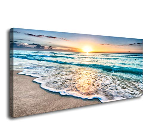 (Baisuart S02250 Canvas Prints Wall Art Beach Sunset Ocean Waves Nature Pictures Stretched Canvas Wooden Framed for Living Room Bedroom and Office)