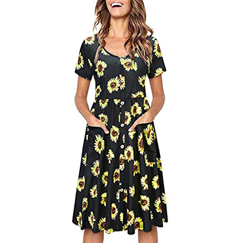 ✔ Hypothesis_X ☎ Women's Summer Casual T Shirt Dresses Printing Short Sleeve Swing Dress V Neck Button Dress with Pockets -