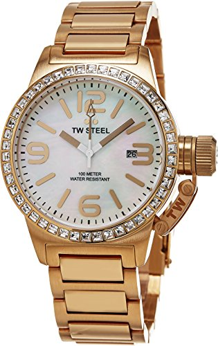 TW Steel Canteen Swarovski Crystal Stainless Steel Plated Rose Gold Watch for Women - Mother-of-Pearl Dial Date TW Steel Watch Womens - 40mm Large Face Ladies Watch - Pink Stainless Ladies Dial Steel