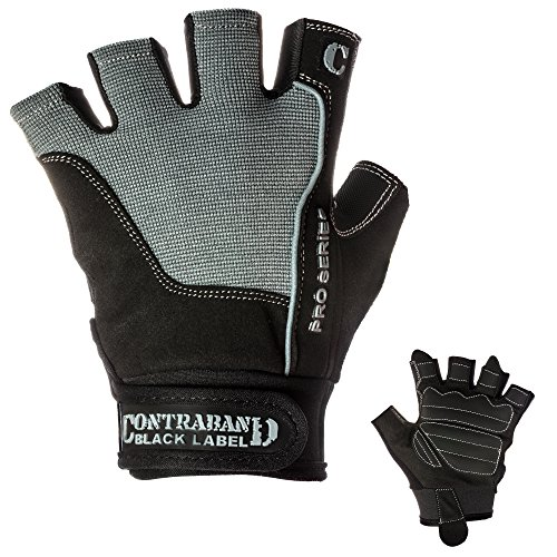Contraband Black Label 5120 Pro Series Amara Leather Lifting Gloves w/Jar Grip Palm- Durable Light - Medium Padded Amara Leather Gym Gloves - Perfect Classic Lifting Gloves (Pair) (Gray, XX-Large)