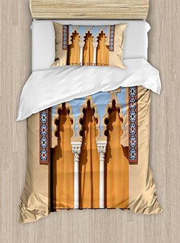 Ambesonne Arabian Duvet Cover Set Twin Size, Old Windows in Arabian Style at Cordoba Spain Background Balconies City, Decorative 2 Piece Bedding Set with 1 Pillow Sham, Sand Brown Pale Blue by Ambesonne