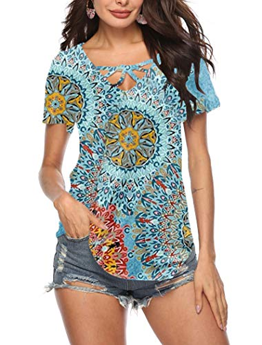 (GOCHIC Women Summer V Neck Criss Cross Floral Short Sleeve T-Shirt #2Blue XXL)