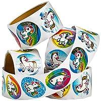"400 Unicorn Stickers - 1.5"" Round Rainbow Unicorns Sticker Rolls, 4 Rolls 100 Stickers Each Roll in Bulk, for Girls & Kids, Unicorn Themed Birthday Party Favors, Goodie Bags & Carnivals"