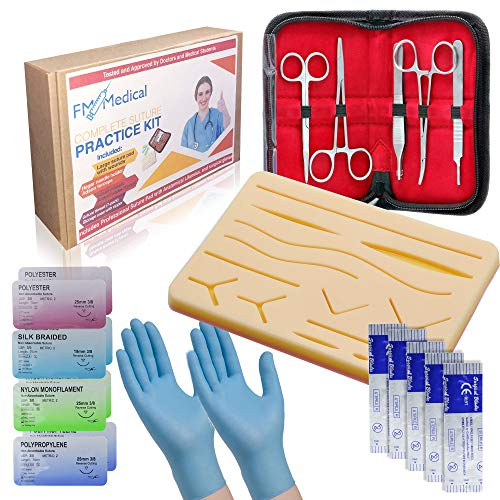 Suture Practice Kit - Complete Medical Suturing Training Set for Students - Mesh-Layered Silicone Suture Pad with Medical Gloves - Realistic Replica of Human Tissues with Pre-Cut Wounds