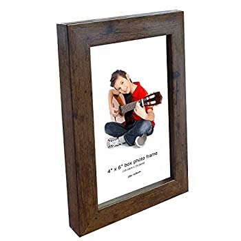Photo Frame 6 x 4 inches, Standard Photo Size, Wall and Desk Mountable, Small Picture Frame, 6x4, Glass Fronted. (Brown)