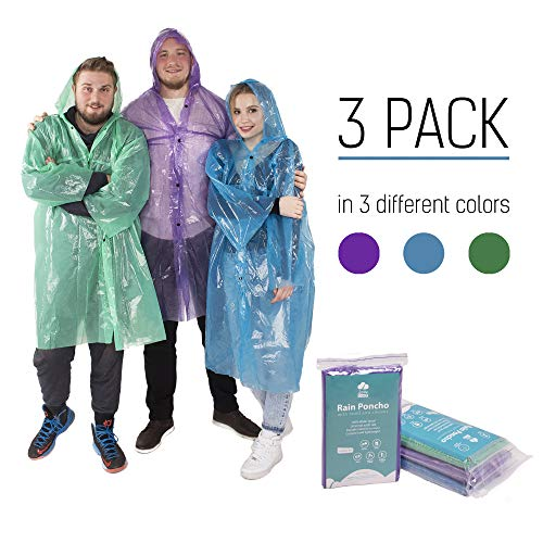 Rain Poncho - Rain Ponchos for Women Men Adults Teens - Disposable Rain Coat - Lightweight Rain Poncho - Emergency Rain Coat - Disposable Emergency Poncho - Rain Poncho Pack - Womens Mens Rain Poncho ()