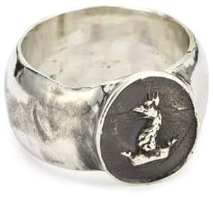 "Pyrrha ""talisman"" Men's Sterling Silver Gryphon Head Band Ring, Size 10"