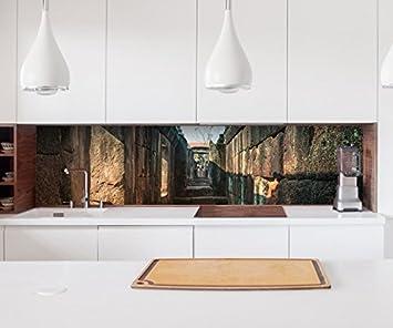Aufkleber Küchenrückwand Ruine alt antik Mauer Steine Durchgang Bau ...