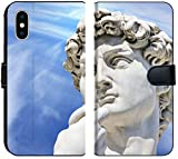 Luxlady iPhone XS MAX Flip Fabric Wallet Case Image ID: 24094674 Detail Close up of Michelangelo s David Statue on Blue Sky Background Fl
