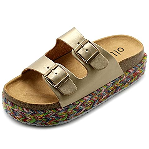 Ollio Women's Shoe Slip On Boho Two Strap Platform Espadrilles Cork Sandals GAGE04 (6.5 B(M) US, - Cork Platform Sandals