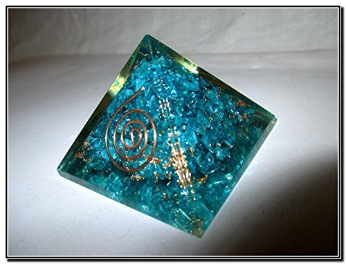 Exquisite A++ Feroza Blue Chakra Orgone Pyramid Crystal Gemstones Copper Metal Mix Rare Healing Positive Energy Tetrahedron Sacred Onyx Geometry Memory Concentration Meditation Spiritual Psychic Piezo Electric Effect Business Prosperity Success Destress A by Jet International