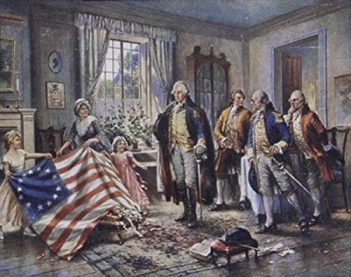 Betsy Ross Shows Washington the Stars and Stripes Edward Percy Moran (1862-1935American) Poster Print (24 x 36)