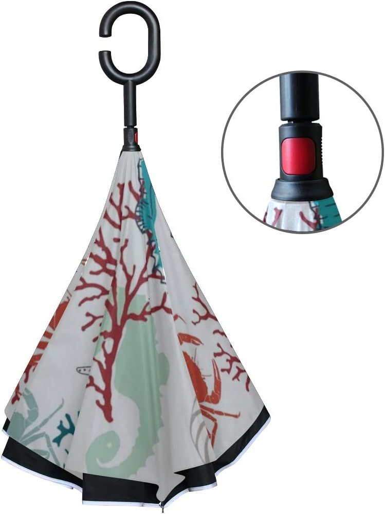 Double Layer Inverted Inverted Umbrella Is Light And Sturdy Marine Life Made Original Drawing Reverse Umbrella And Windproof Umbrella Edge Night Refl