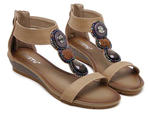Cinturino Alla Caviglia Gladiatore Donna Con Cinturino Sandalo Con Zeppa In Rilievo Con Sandali Albicocca