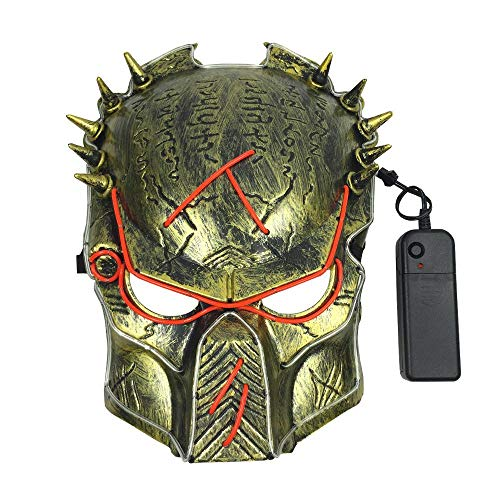 Umiwe Cosplay Halloween Mask,LED Glow Scary EL Wire Light up Masks Masquerade Party Festival Parties -