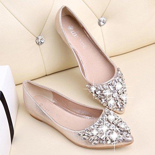 Omiky® Frauen Spitzschuh Ladise Schuhe Casual Strass Low Heel Flache Schuhe Gold