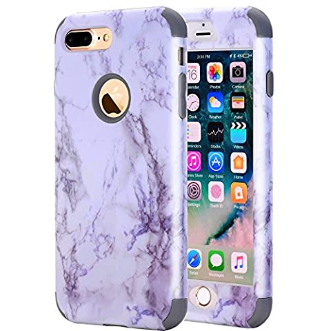 iPhone 7 Plus Case, GPROVA New Marble Design, Slim Dual Layer Protection Shockproof PC TPU Skin Cover for Apple iPhone 7 Plus (Grey (Speck Like Iphone 5s Case)
