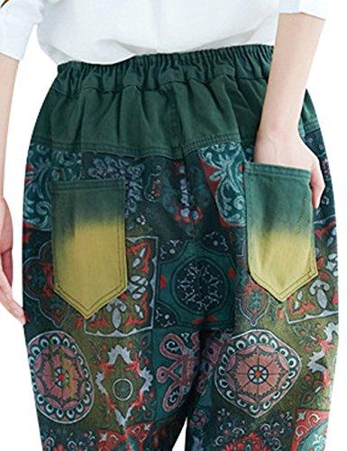Youlee Vita Pantaloni 2 Verde Donne Harem Stile Elastica 1nnfrxT