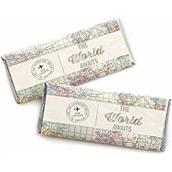 World Awaits - Travel Themed Candy Bar Wrappers Party Favors - Set of 24