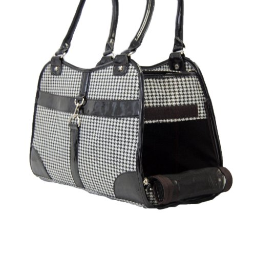 Anima Houndstooth Purse Carrier, 13.5-Inch by 6.5-Inch by 10.5-Inch, Black, My Pet Supplies