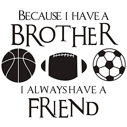 "DNVEN (Black 20"" w X 23"" h Kids Sports Learning Basketball Football Soccer PVC Wall Stickers Decals Quote Brothers Friends Kid Room Sports Decor Quotes Wall Decal Kids Inspirational Quotes Wall Decor"