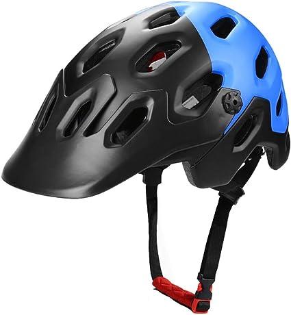 Casco Bicicleta ZWRY Casco de Bicicleta de montaña Moldeado integralmente Casco de Ciclismo MTB Road Bike Safe Cap Hombres Mujeres 56-62 cm Negro-Azul 2: Amazon.es: Deportes y aire libre