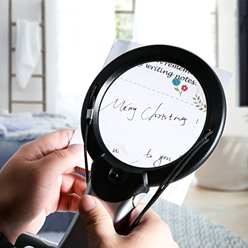 Reading Magnifier, Hands Free Neck Wear Handheld Large Lighted Magnifying Glass Desktop Magnifier with LED Light for Close Work, Reading, Sewing, Cross Stitch, Inspection, Repair, Crafts by oenbopo (Image #1)