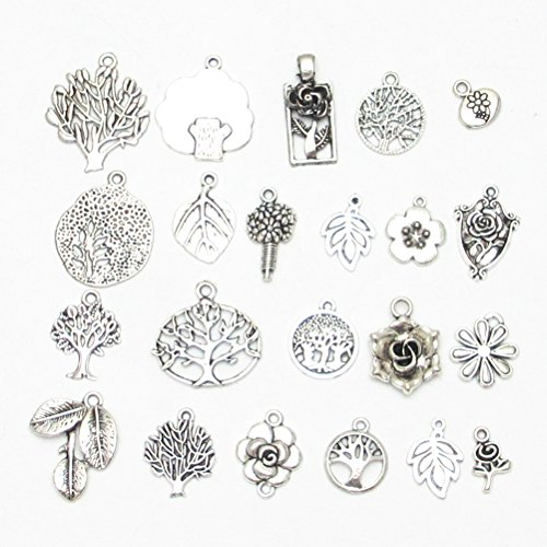 Flower Craft Beads Charms (Dandan DIY 40pcs Assorted Life Tree&Flower&Leaf Antique Charms Beads Alloy Pendant Craft Accessory Diy Necklace Bracelet Craft Jewelry Making Supply (Tree&Flower&Leaf))