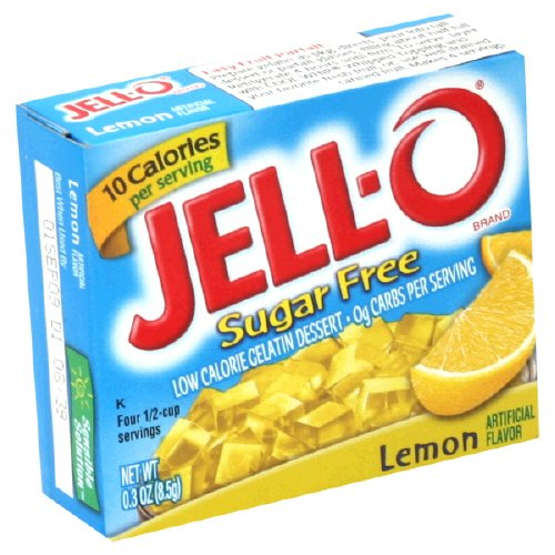 Jell-O Sugar-Free Gelatin Dessert, Low Calorie, Lemon, 0.3 Oz Boxes (Pack of 12) by Jell-O