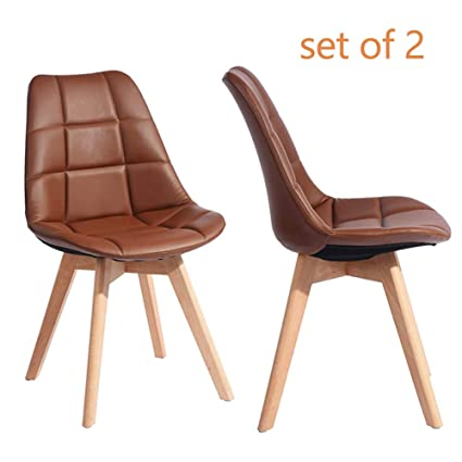 Excellent Greenforest Side Chairs Set Of 2 Mid Century Modern Pu Leather Living Dining Room Chairs Upholstered Seat And Back Leisure Eames Chair Brown Bralicious Painted Fabric Chair Ideas Braliciousco