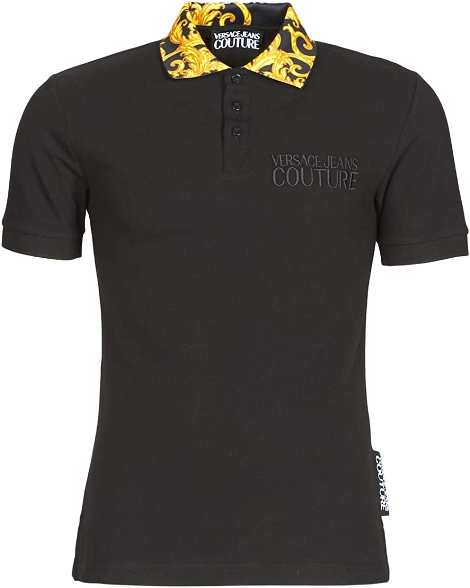 Versace Jeans Couture Baroque Collar Print Polo Shirt